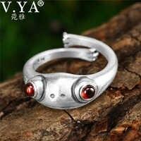 V.YA Fashion 925 Sterling Silver Garnet Rings for Women Lady Cute Animal Frog Ring Adjustable Silver Jewelry