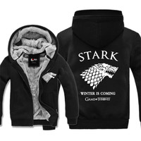 Movie Game Of Thrones Cosplay House Of Stark Unisex Zipper Fleece Hoodies Halloween Costume 25 Styles