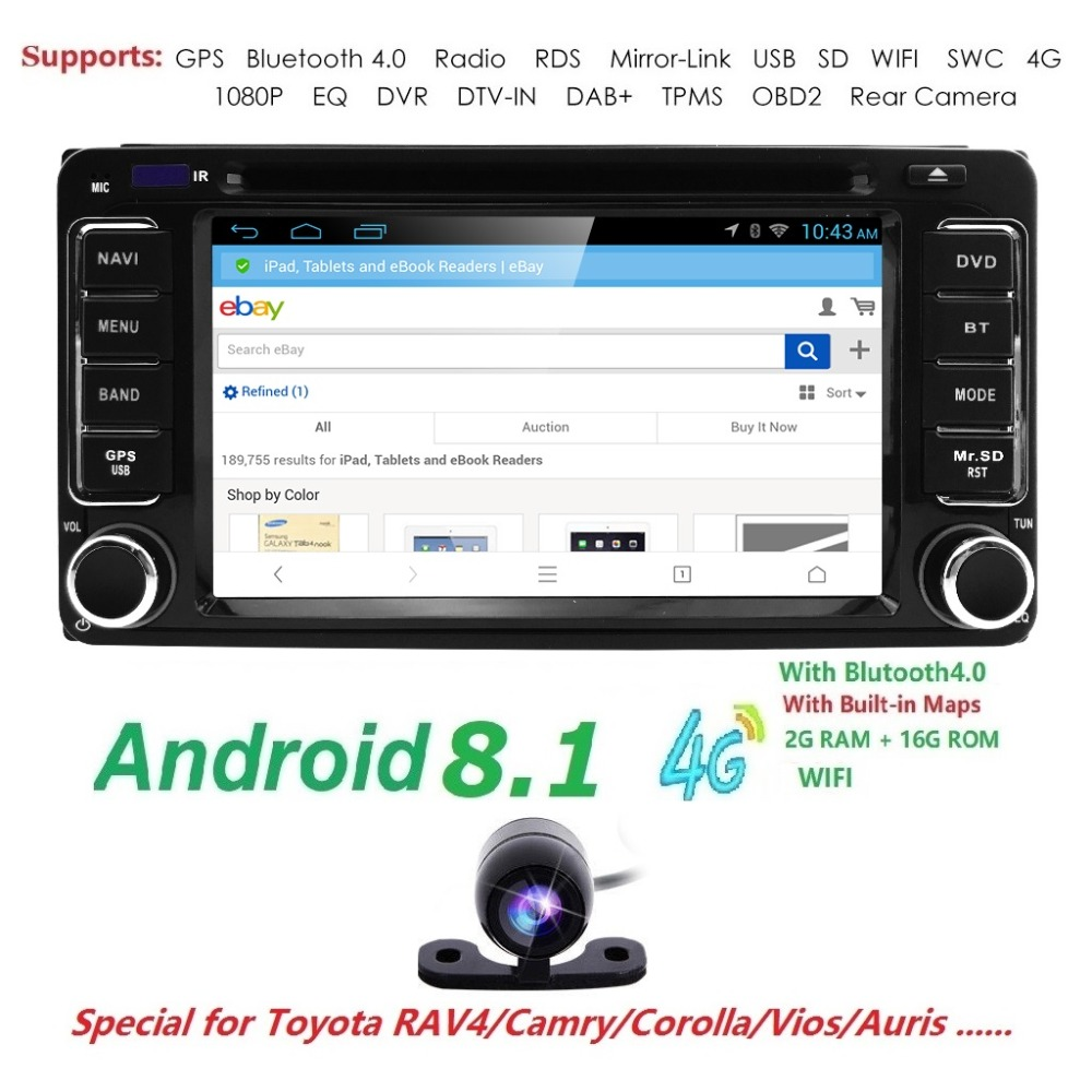 Android 8.1 DVD Player For Toyota Universal RAV4 COROLLA VIOS HILUX Terios Land Cruiser 100 PRADO 4RUNNER DVR Bluetooth rear cam