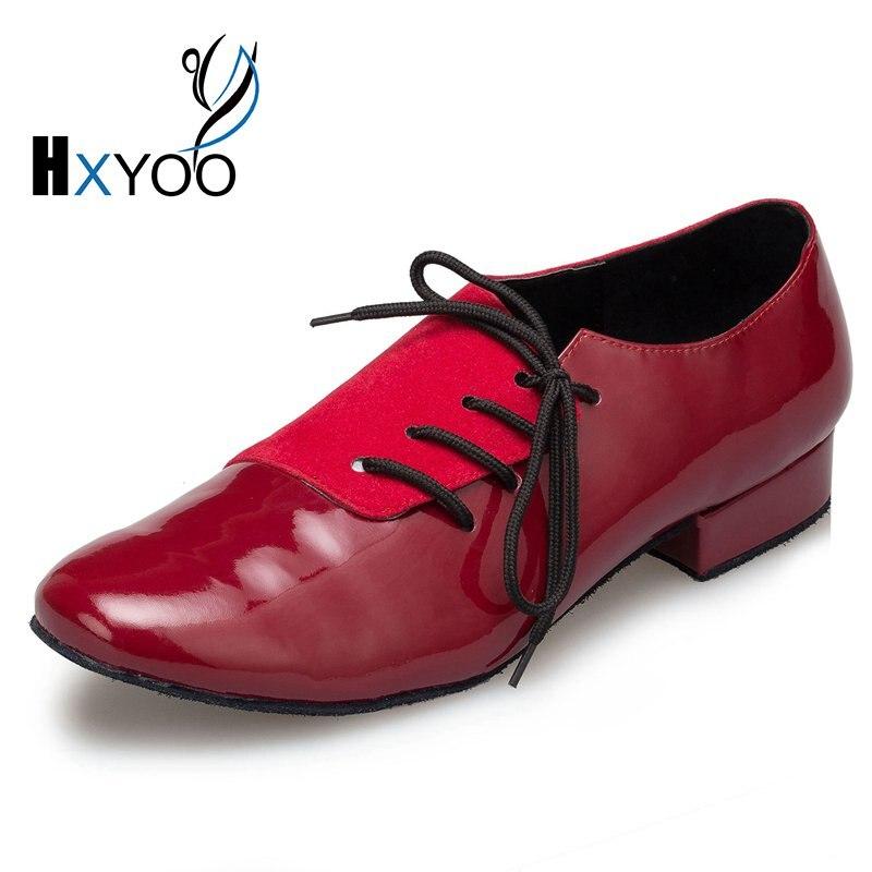 HXYOO New Model PU Flock Men Latin Dance Shoes Ballroom Shoes Salsa Tango Red Black Men