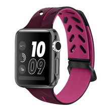 ФОТО for apple watch band silicone strap for iwatch 42mm 38mm series 3/2/1 bands new apple silicone double color strap tire pattern