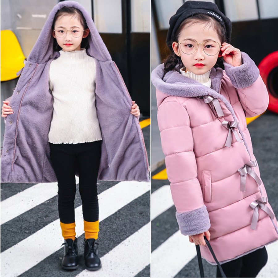 Winter Children's Jacket for Girl Thick Long Warm Coat Kid Fashion Girl Hooded Collar Outerwear Clothes Kids Winter Parkas winter children s jacket for girl thick long warm coat kid fashion girl colorful fur collar outerwear clothes kids winter parkas