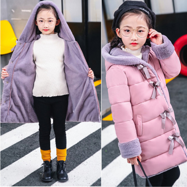 Best Price Winter Children's Jacket for Girl Thick Long Warm Coat Kid Fashion Girl Hooded Collar Outerwear Clothes Kids Winter Parkas