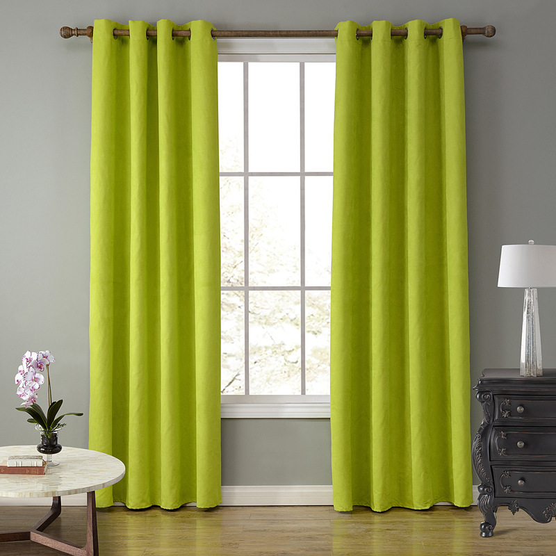 Sunnyrain 1 piece suede fabric green curtains for living for Cortinas verdes para sala
