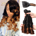 Top 8a Malaysian  funmi hair with closure colour 1b/4 spring curl ombre hair extensions with closure free shipping ombre closure