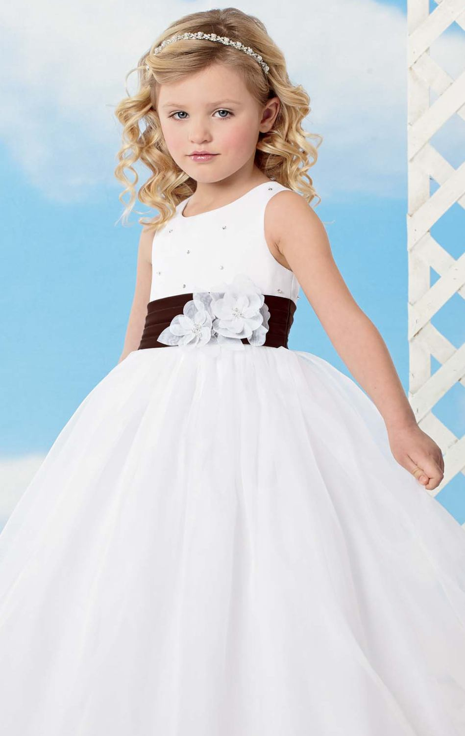 Pretty A Line Flowers Girl Dresses Black Sash White Hand Made
