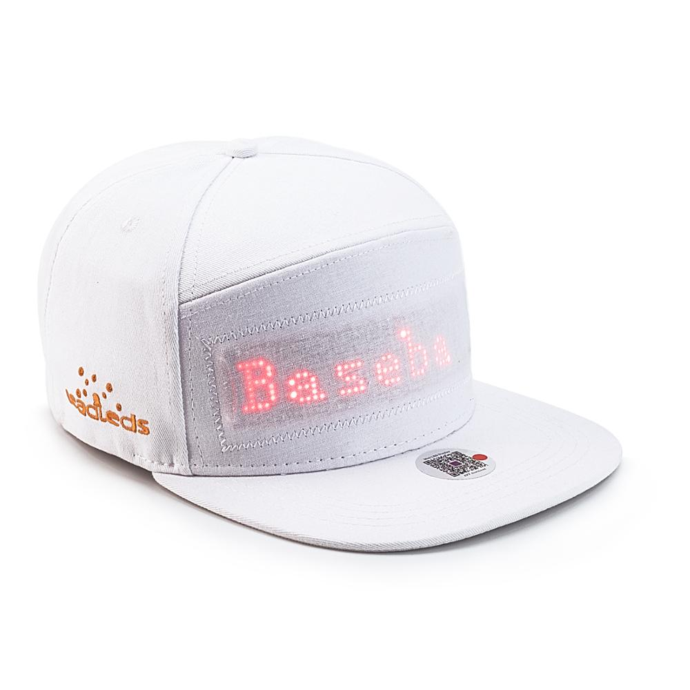 Bluetooth LED White Hat Scroll Message Display Board Hip Hop Street Dance Party Parade Sunscreen Golf Fishing Cap