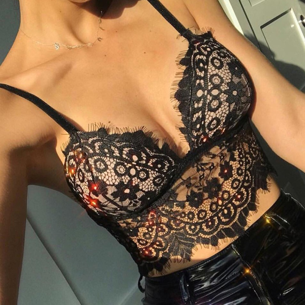 Sexy Women Lace Sleeveless   Tops   V-Neck Floral Hollow Lace Crop   Top   Camisole Lace Vest Bra Blouses   Tank     Tops   Camis