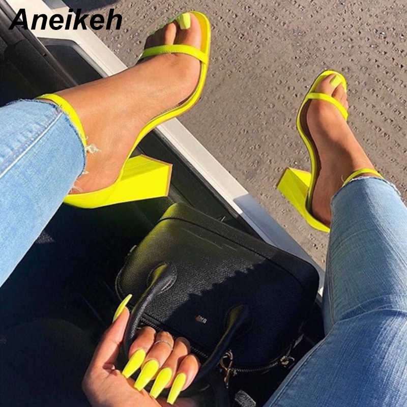 Aneikeh 2019 Summer PU Fashion High Heel Sandals Sexy Word Buckle With Thick Heel Shoes Shallow Mouth Strapless Open Toe Sandals