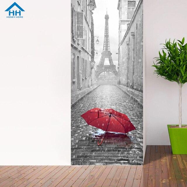 Classic Paris Image 3D Door Stickers Renovation Self Adhesive Removable Wallpaper Creative Fun Poster