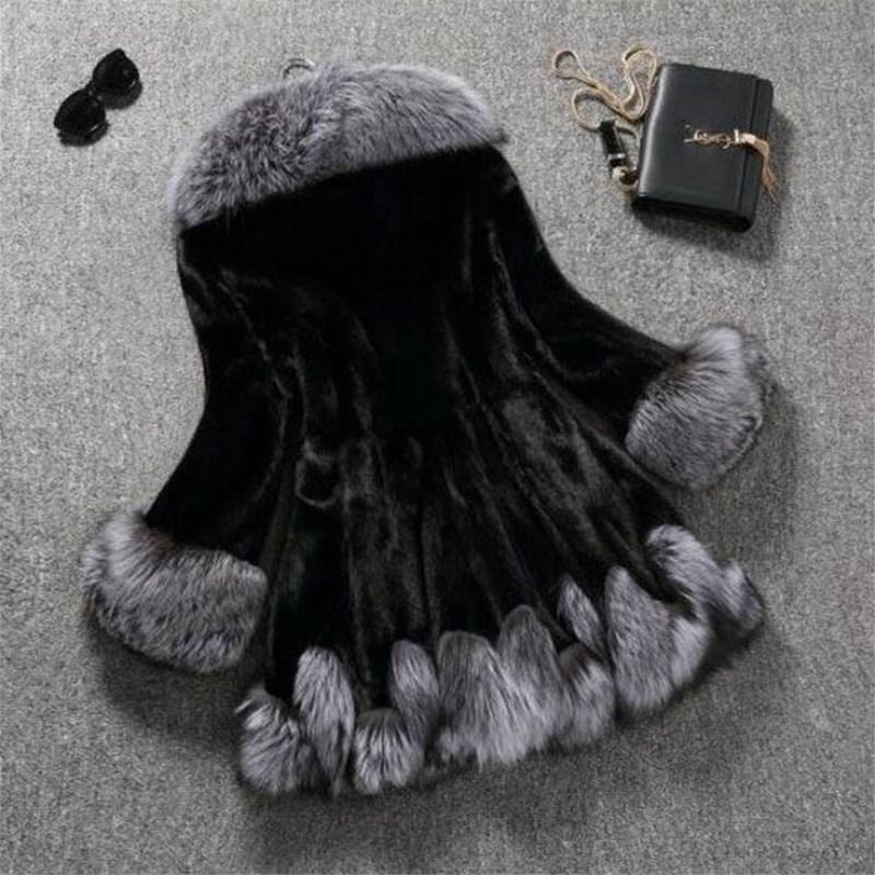 Long Grand Vison Épaissir Pardessus 2018 Taille Manteau D'hiver Doublé Capuchon Des Faux Et Fourrure À Noir Outwear S Automne 6xl Femmes Veste Renard De xwqUaOx4