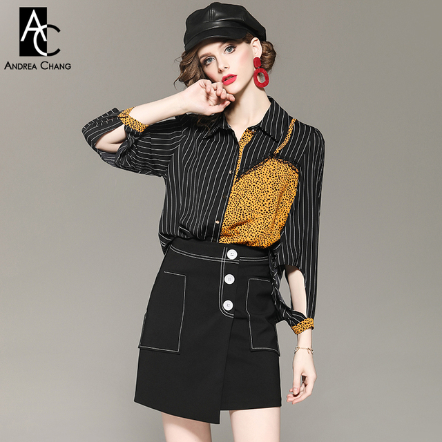 3bd73b852c autumn spring woman clothing set leopard pattern black white strip  patchwork shirt blouse + white button black mini skirt outfit