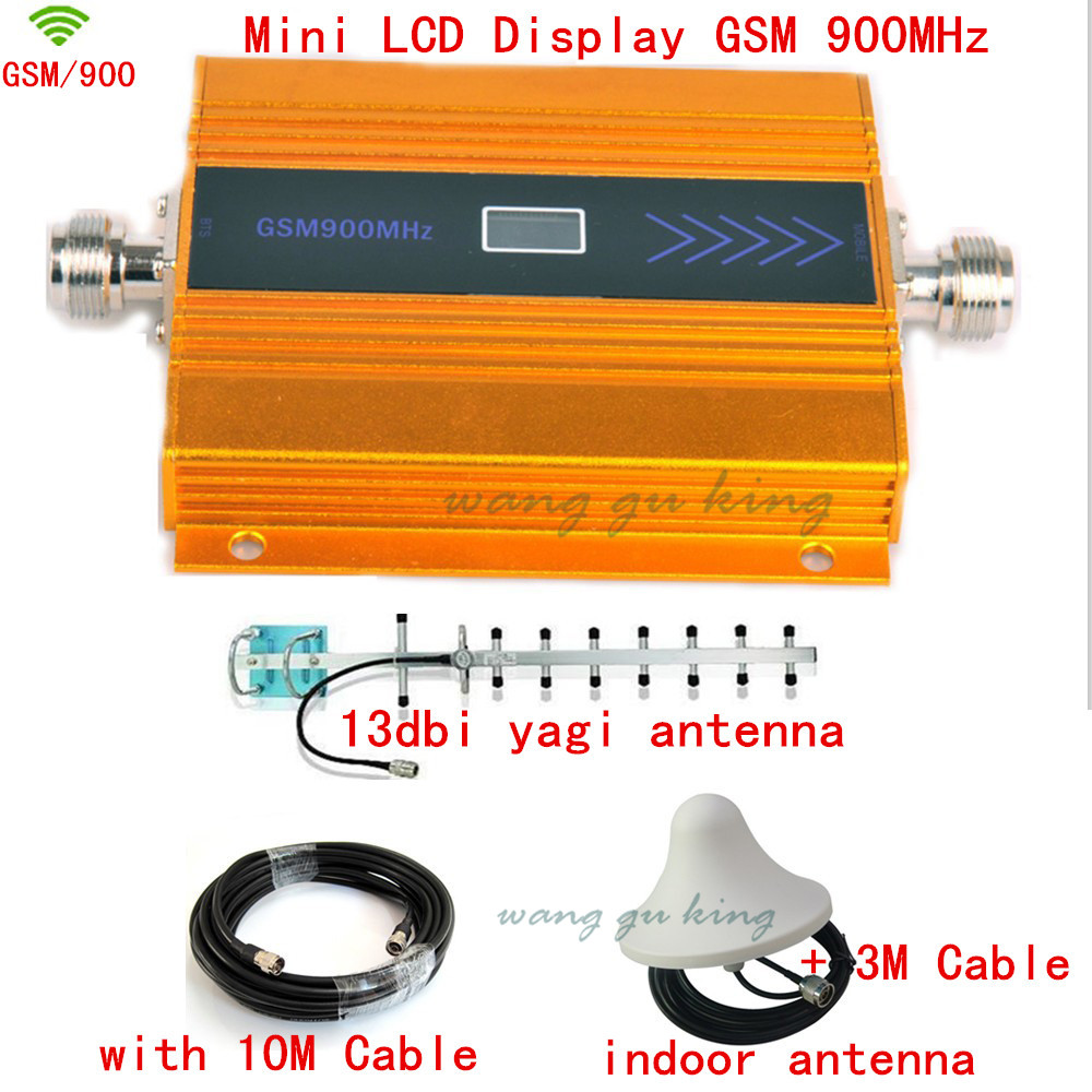 LCD Display +13db Yagi Antenna Mobile Phone Mini GSM 900mhz Signal Repeater / Repetidor,cell Phone GSM Signal Booster Amplifier