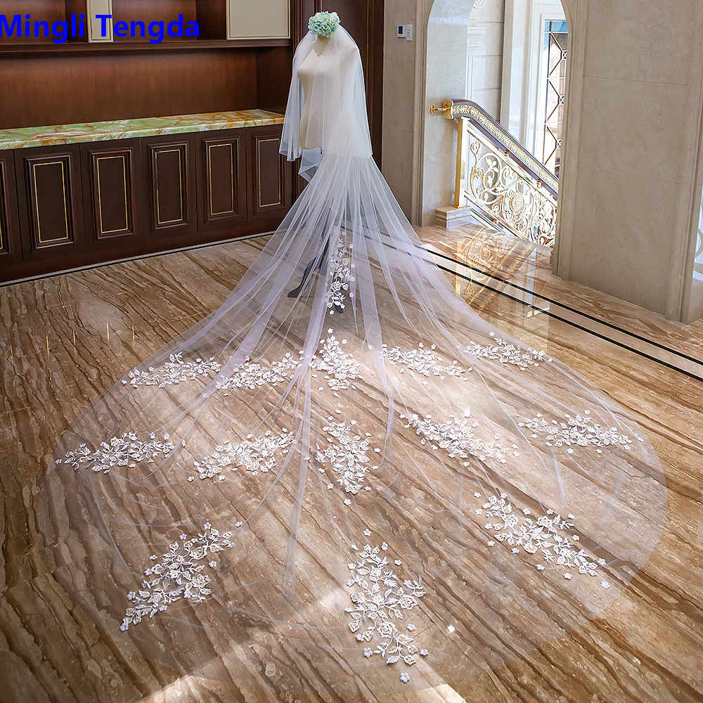Mingli Tengda Bordir Bunga Katedral Kerudung 3.5 M Panjang Pernikahan Kerudung Dua Lapisan Veil Pengantin Lace Flover Cove Wajah Mariage