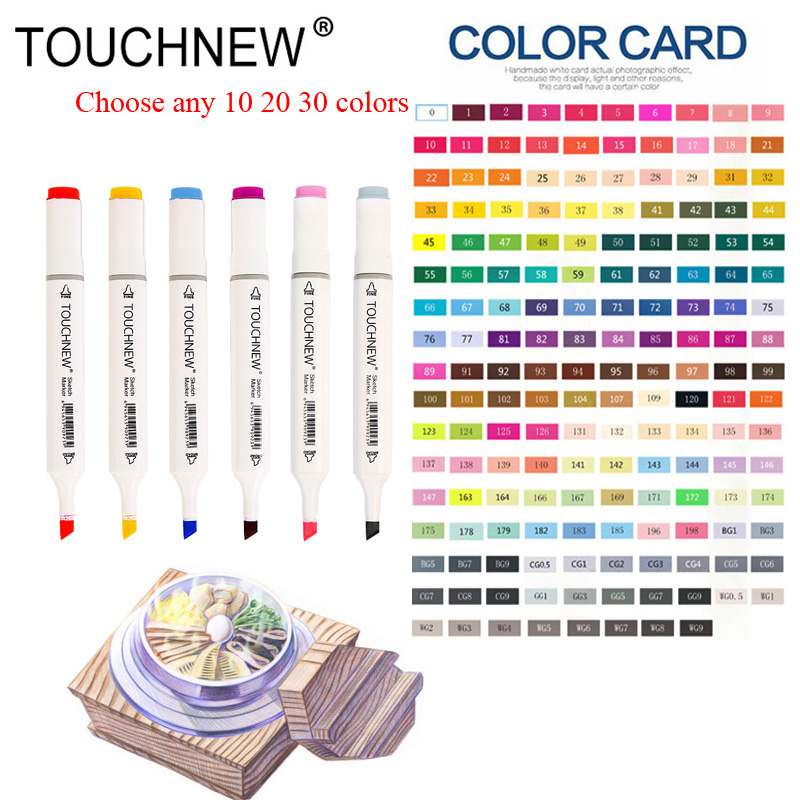 TOUCHNEW Choose Any 10/20/30 Colors Alcohol Brush Markers Sketch Art Markers for Manga Drawing Markers Design Art Brush Marker touchnew 168colros can choose any colors markers set dual headed sketch marker pen for drawing manga animation art supplies