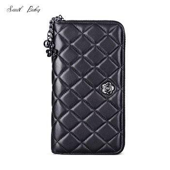 women plaid wallet genuine leather clutch bag female sheepskin wallet long design