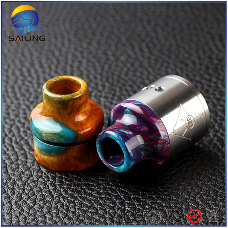 Sailing electronic cigarette newest Epoxy resin drip tip mouthpiece top cap for goon RDA 24 free