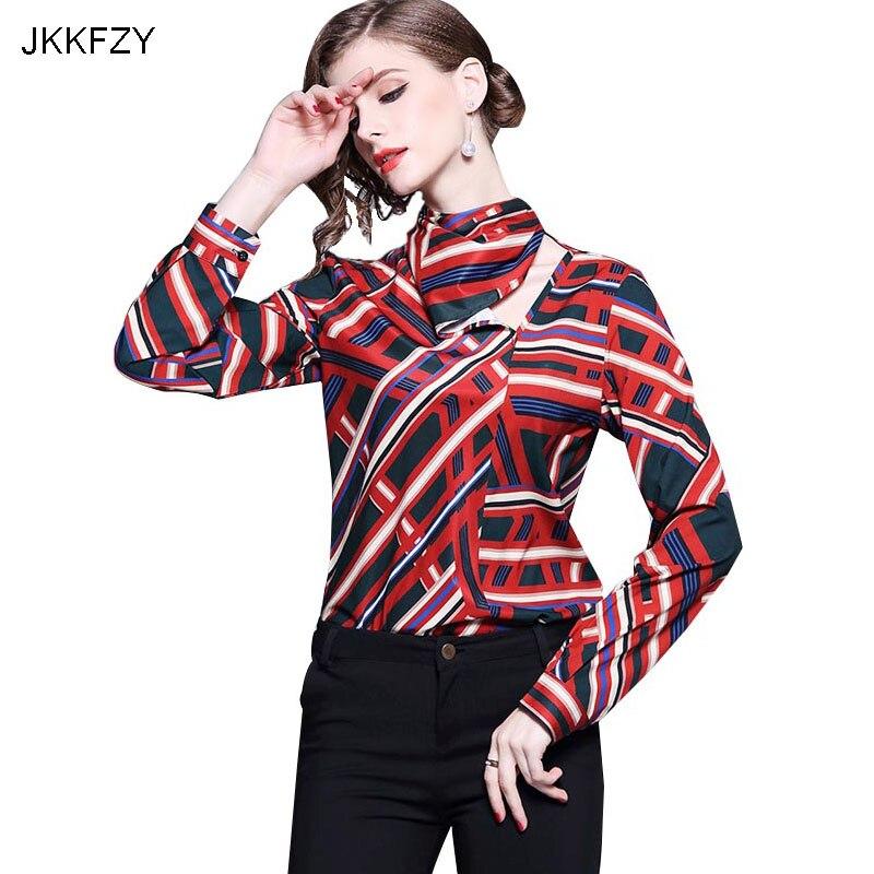 JKKFZY Women Fashion Stripe Print Shirt High-Quality Ladies Office Blouse Female Runway Elegant Party OL Style Top Clothes