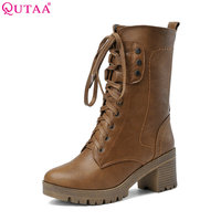 VALLKIN Black Square High Heel Woman Mid Calf Boot Women Shoes Round Toe Lace Up PU