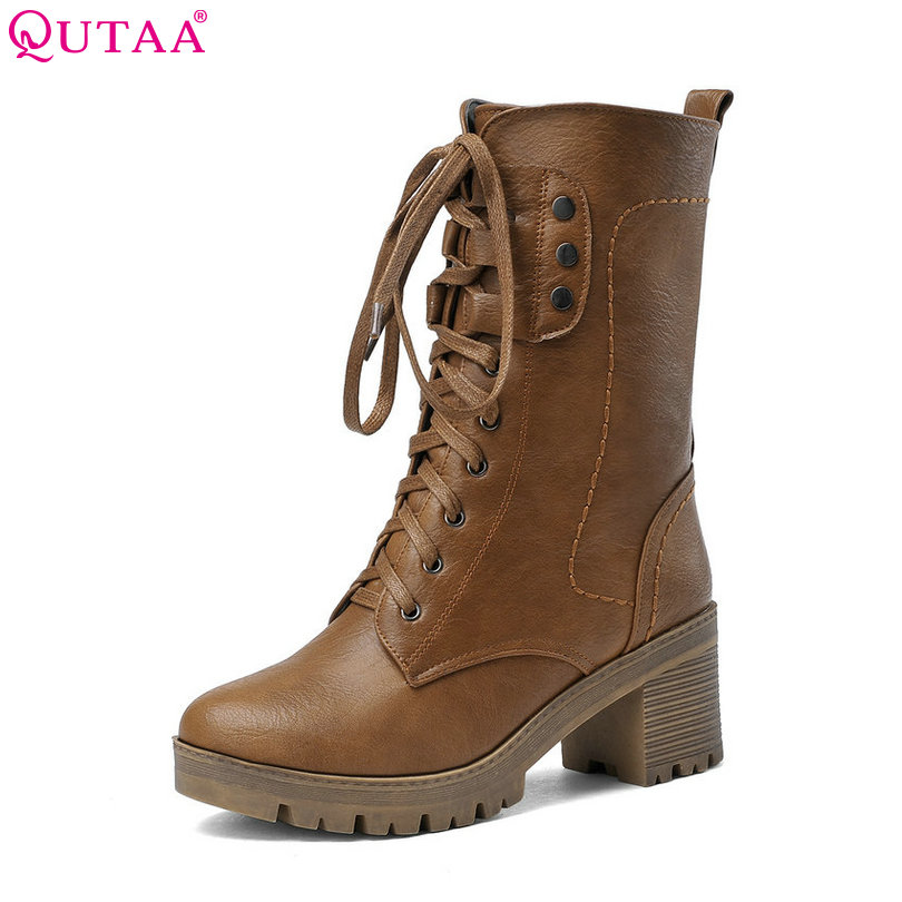 QUTAA Black Square High Heel Woman Mid Calf Boot Women Shoes Round Toe Lace Up PU leather Ladies Motorcycle Boots Size 34-43 vinlle women boot square low heel pu leather rivets zipper solid ankle boots western style round lady motorcycle boot size 34 43