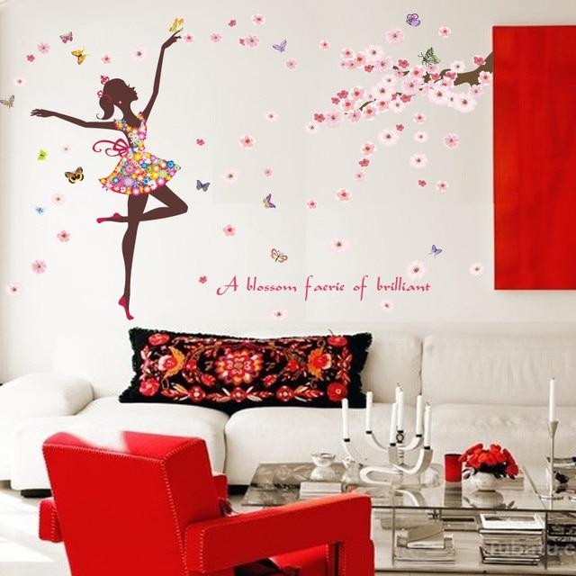 Vol romantique Fleur Papillons Danse Fille Autocollant Stickers ...