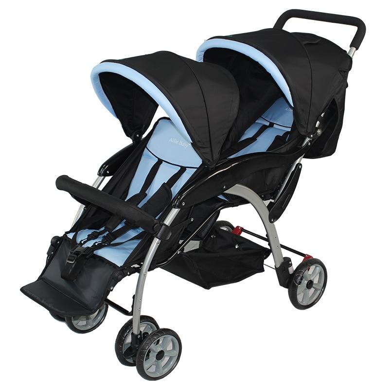 Chariot de bébé jumeau Double parapluie poussette survêtement infantile bambin facile pliant fauteuil roulant bébé chariot assis Lie landau système de voyage