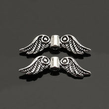 DoreenBeads 50 Pieces Antique Silver Color Angel Wing Charm Spacers Beads 23x7mm Jewelry Making Accessories For DIY (B05959)(China)