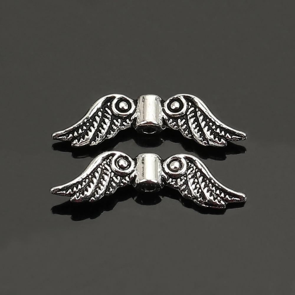 DoreenBeads 50 шт. античное серебро Цвет подвеска в форме ангельских крыльев Распорки бусины 23×7 мм ювелирных изделий интимные аксессуары для DIY (B05959)