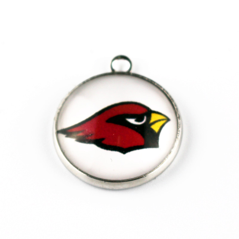 Hot selling 10pcs/lot football Team Sports Glass Pendant Arizona Cardinals Hanging Dangle Charms For Necklace Jewelry