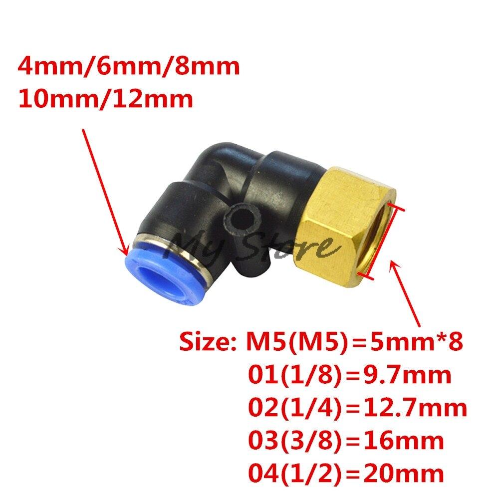 PLF OD 4 6 8 10 12mm - Internal Thread M5'' 1/8'' 1/4'' 3/8'' 1/2'' Pneumatic Female Elbow Connector Tube  Air Push In Fitting 8 4 1030788