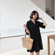 Poungdudu Материнство беременных женщин маленькое черное платье свободный большой размер черный темперамент был тонкий слово платье