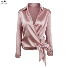 Cncool New Fall Full Sleeve Pink Solid Surplice Wrap Blouse Shirt Women Sexy Puff Sleeve V Neck Bow Tie Belt Top Shirt foldover neck belted bow tie sleeve blouse