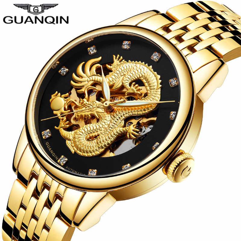 Original GUANQIN Brand Golden Dragon Stainless Steel Skeleton Waterproof Watches Men Business Luxury Automatic Mechanical Watch langley new modern dragon watches men automatic mechanical watch male skeleton golden wristwatch luxury brand stainless steel
