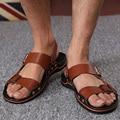 DreamShining Verano Sandalias Masculinas de Los Hombres de LA PU Zapatos de Cuero Del Dedo Del Pie Abierto Zapatillas de Moda Sandalias Casuales Amarillo/de Color Caqui/Marrón