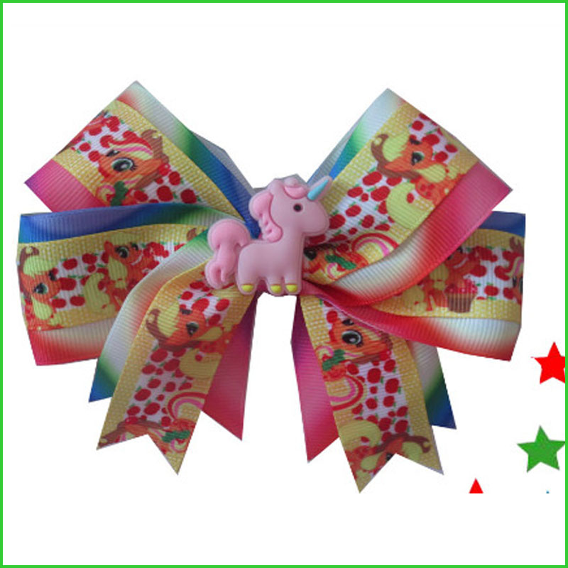 "20 BLESSING Girl 4.5/"" Two Tone Cheer Hair Bow Clip Rainbow Unicorn Pony Hairbow"