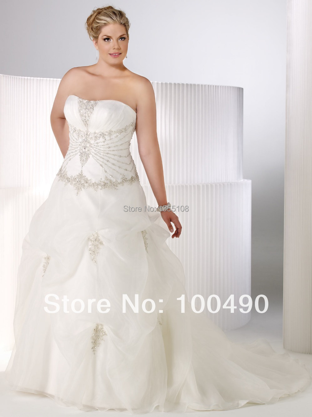 US $400.0 |Customed9Puffy ball gown wedding Plus size bridal dresses  diamante on Natural waistline silver outline appliques with sequins an-in  Wedding ...