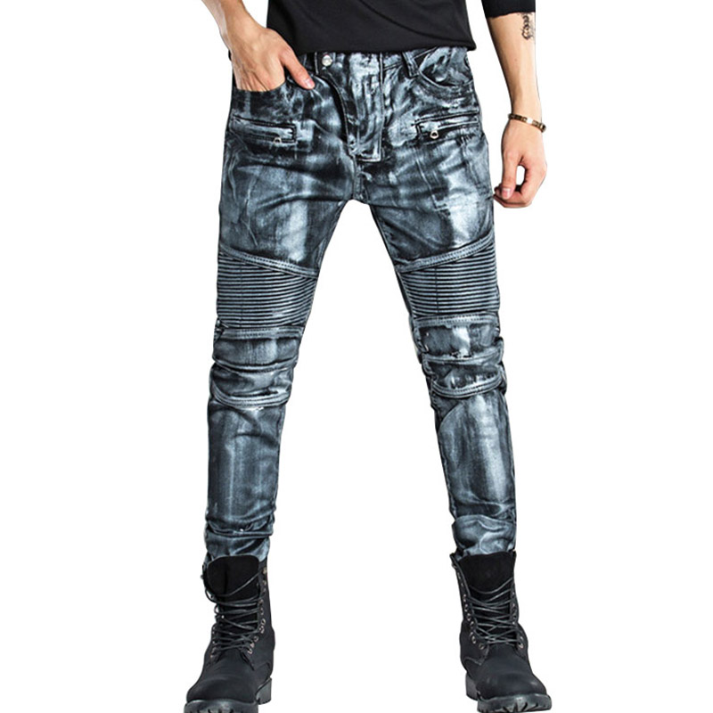 MCCKLE New Fashion Gold Silver Paint Printed Biker Jeans Pants  Fashion Jeans Men,High Quality Slim Motorcycle Man Jeans