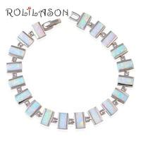 Luxury Wedding Bracelets Wholesale Retail White Orange Fire Opal Silver Stamped Fashion Jewelry Birthday Gifts OB039