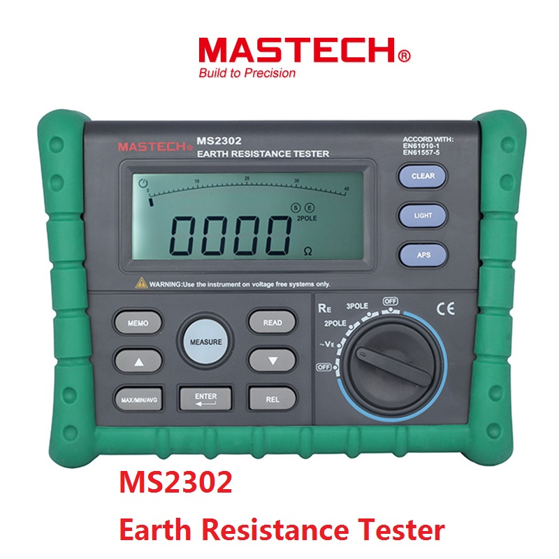 Mastech MS2302 Earth Ground Resistance Tester Digital Megger Insulation Meter LCD Display 100 Groups Data Diagnostic-tool 200V mastech ms2302 digital earth resistance tester meter 100 groups data logging with backlit 0ohm to 4k ohms free shipping