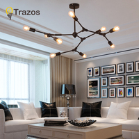 TRAZOS Nordic loft Branch led Chandeliers for Dining Room Kitchen Glass Lampshade Globle Chandeliers Lustre Hanging Home Lamps