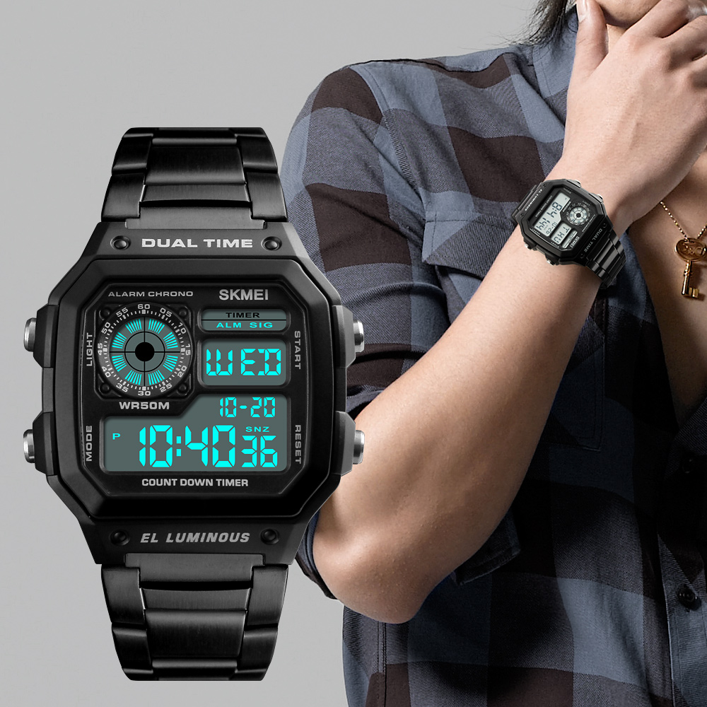 Famous Top Brand Luxury Clock Mens Watches Digital Watch Men Stainless Steel Strap 2 Time Zone Countdown Waterproof WristwatchesFamous Top Brand Luxury Clock Mens Watches Digital Watch Men Stainless Steel Strap 2 Time Zone Countdown Waterproof Wristwatches
