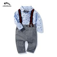2019 autumn Baby Boys Clothes Sets Bow tie blue Shirts romper +Bib pant Overalls Handsome Gentleman suit Kids Boy Clothing set