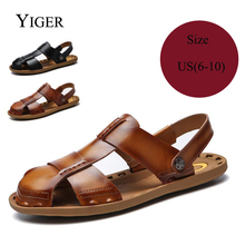 YIGER New Man Slippers Genuine Leather Men Sandals Summer Leisure Beach Black/Brown  0084