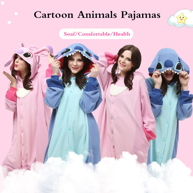 2018 New kigurumi Animal Cartoon Women Onesies Monkey Umbreon Stitch Cosplay Hooded Sleepwear Winter Unisex Fox Wolf Pajamas 1