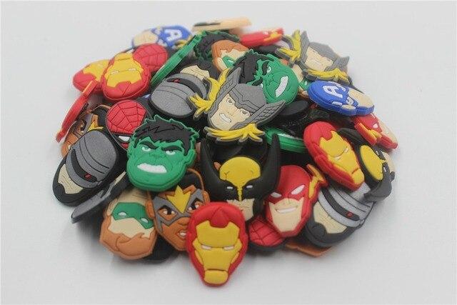 60914090d54f0 60Pcs Super Hero Batman The Flash Avengers Shoe accessories Shoe Charms  Shoe Decorations for Croc Bracelet Wristband Kid Gift