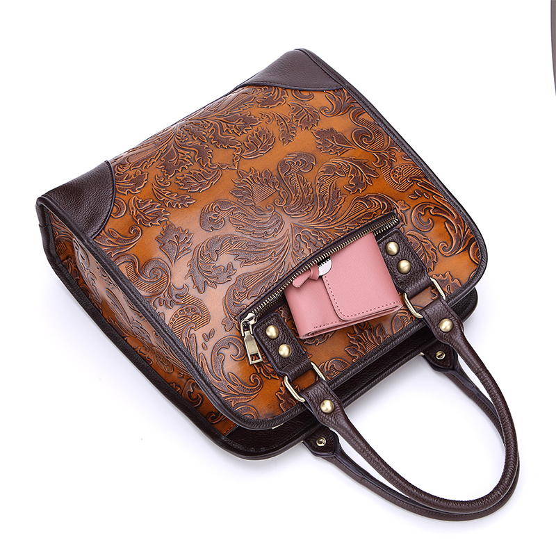 d4c149eda43d US $43.87 31% OFF|Women Top Handle Bags Genuine Leather Embossing Design  Office Ladies Briefcase Tote Bag Real Cowhide Shoulder Messenger Bags  New-in ...