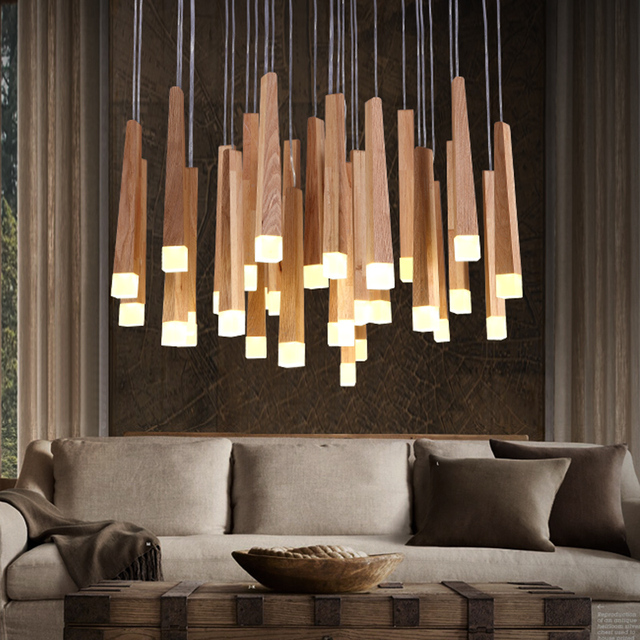 Vintage Pendant lights Wood Suspension Light Fixtures Modern Lustres de led Indoor Lighting Home Luminaire Hanging Pendant Lamps
