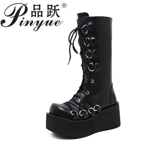 Demonia Style Women Black Boots Casual Mid Calf Wedges Platform High Heel Boots Punk Gothic Shoes Lace Up Martin Boots рюкзак case logic 17 3 prevailer black prev217blk mid