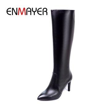ENMAYER New fashion women knee high boots women pointed toe high heel boots  women zipper boots thin heels ZYL931