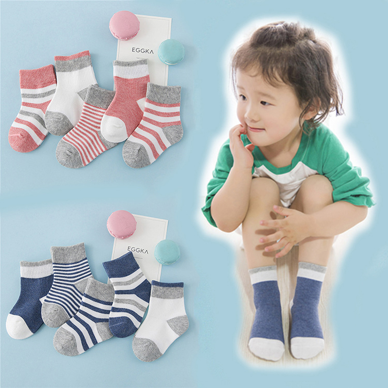 Wholesale Baby Socks Children Comfort Breathable Cotton Sneaker Socks 5 Pair/pack Cute Korean Girls Boys Tube Socks cheap stuff